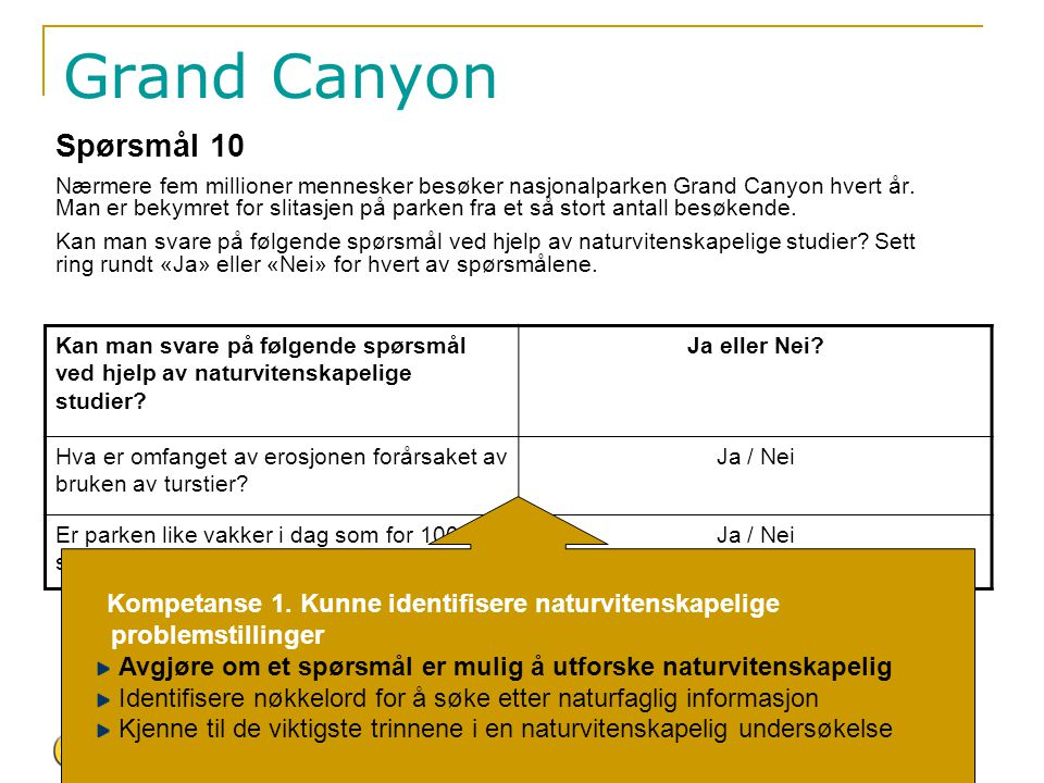 Grand Canyon Spørsmål 10.