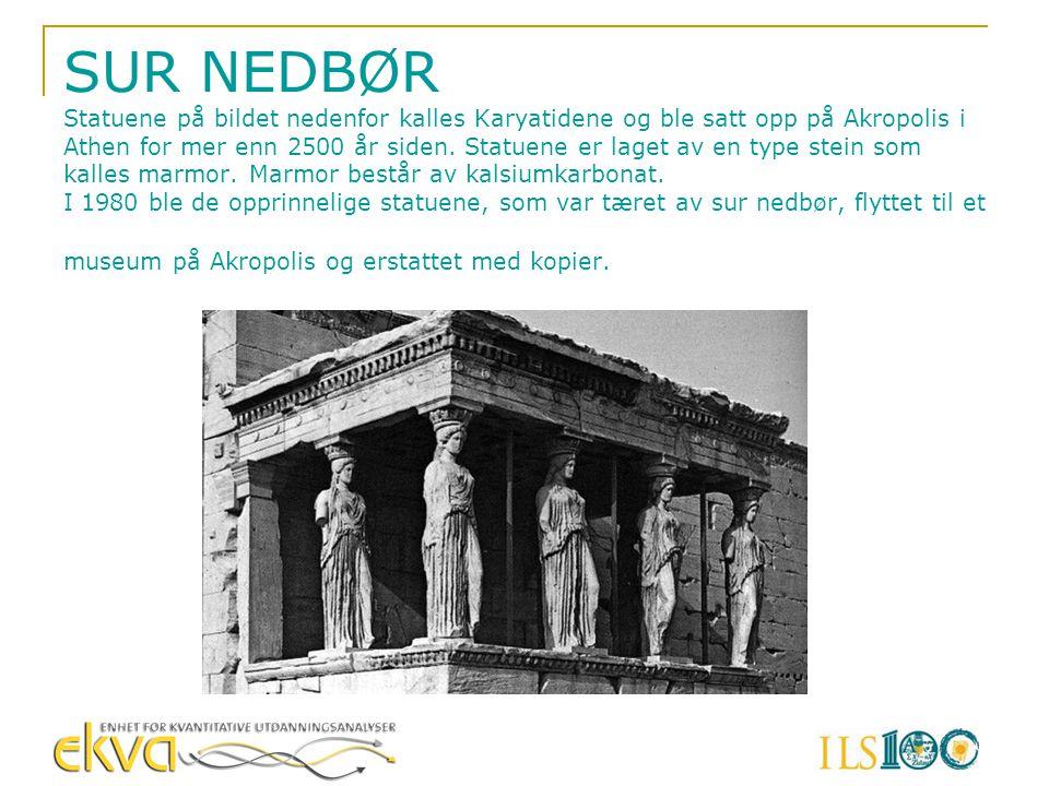 SUR NEDBØR Statuene på bildet nedenfor kalles Karyatidene og ble satt opp på Akropolis i Athen for mer enn 2500 år siden.