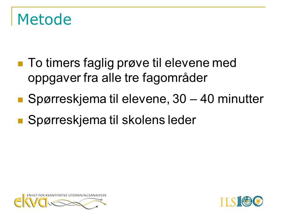 Metode To timers faglig prøve til elevene med oppgaver fra alle tre fagområder. Spørreskjema til elevene, 30 – 40 minutter.