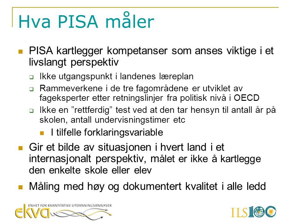 Hva PISA måler PISA kartlegger kompetanser som anses viktige i et livslangt perspektiv. Ikke utgangspunkt i landenes læreplan.