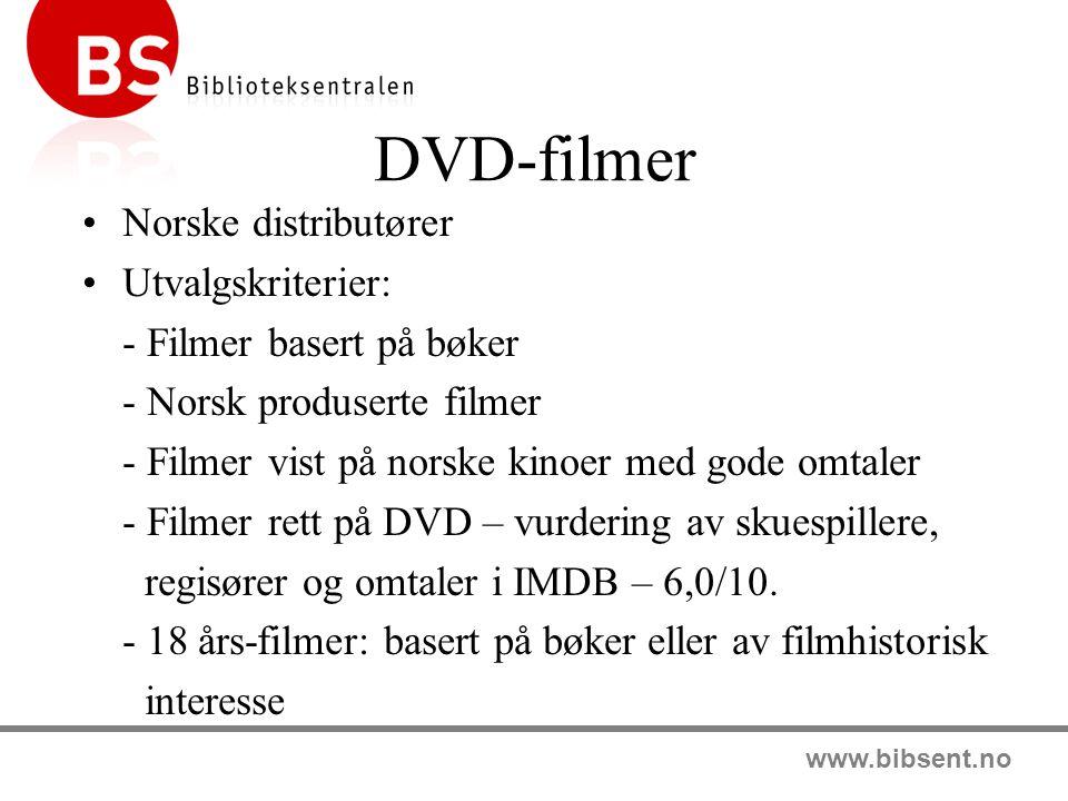 DVD-filmer Norske distributører Utvalgskriterier: