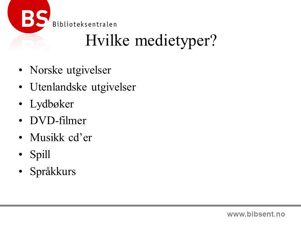 Hvilke medietyper Norske utgivelser Utenlandske utgivelser Lydbøker