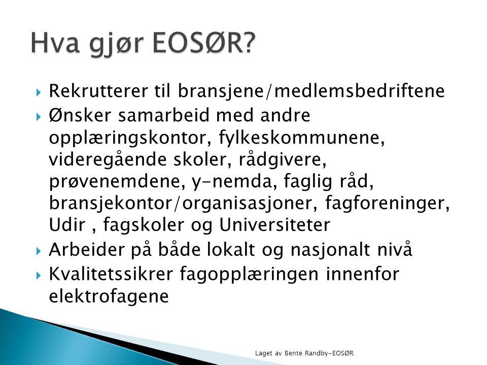 Hva gjør EOSØR Rekrutterer til bransjene/medlemsbedriftene