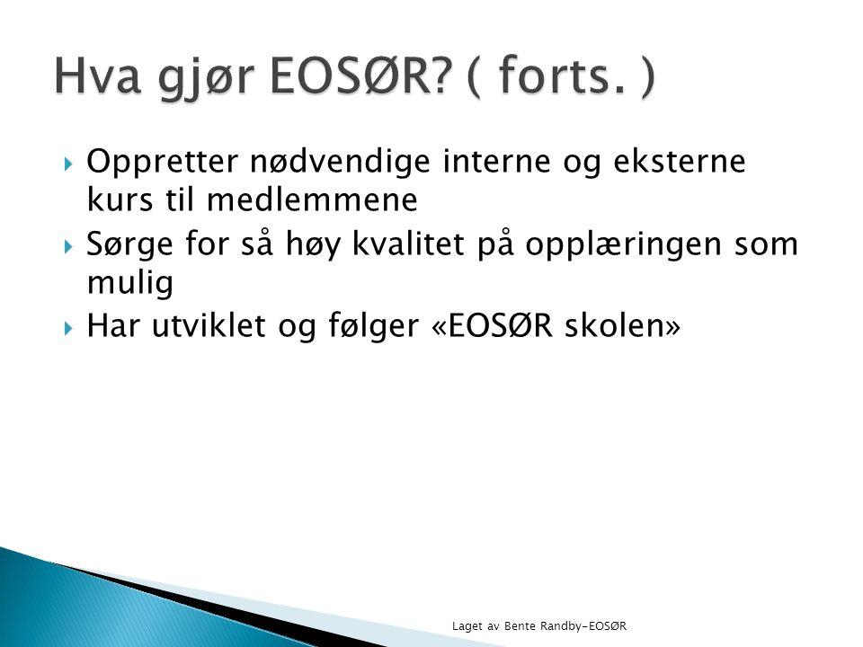 Hva gjør EOSØR ( forts. ) Oppretter nødvendige interne og eksterne kurs til medlemmene. Sørge for så høy kvalitet på opplæringen som mulig.