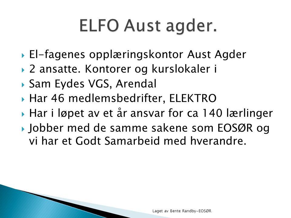 ELFO Aust agder. El-fagenes opplæringskontor Aust Agder