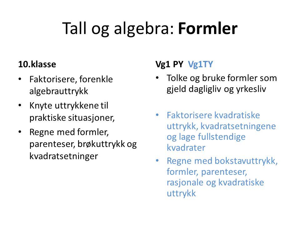 Tall og algebra: Formler