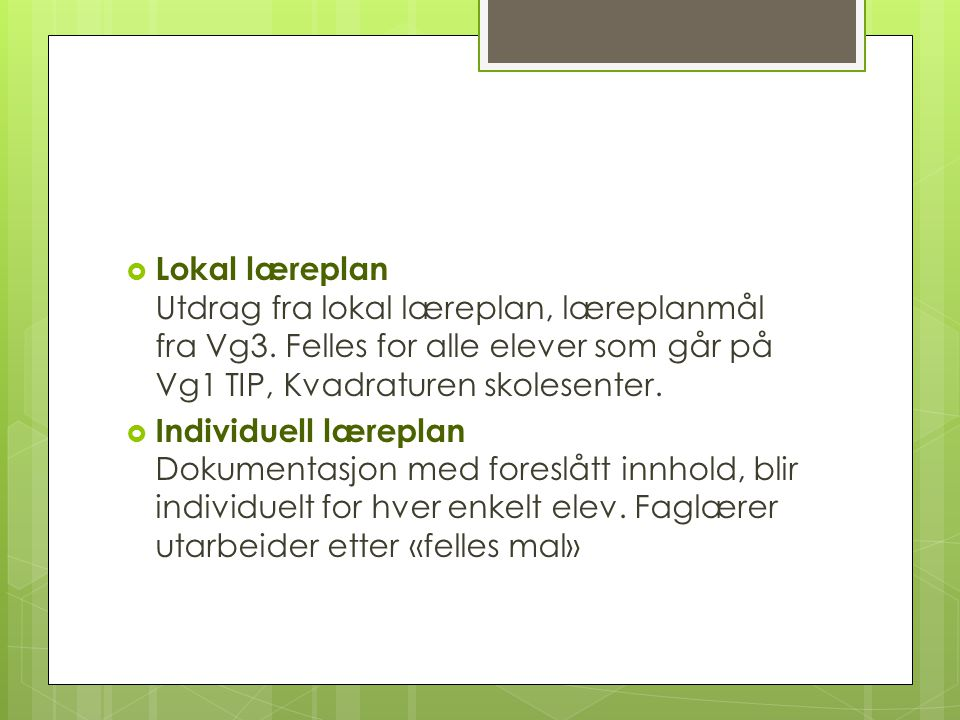 Lokal læreplan Utdrag fra lokal læreplan, læreplanmål fra Vg3