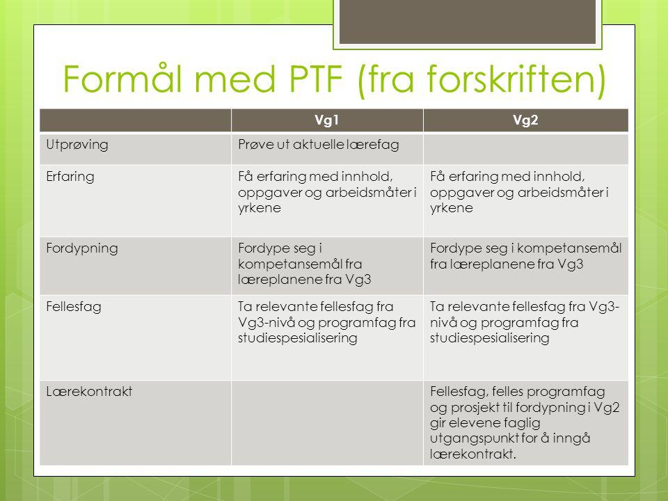 Formål med PTF (fra forskriften)