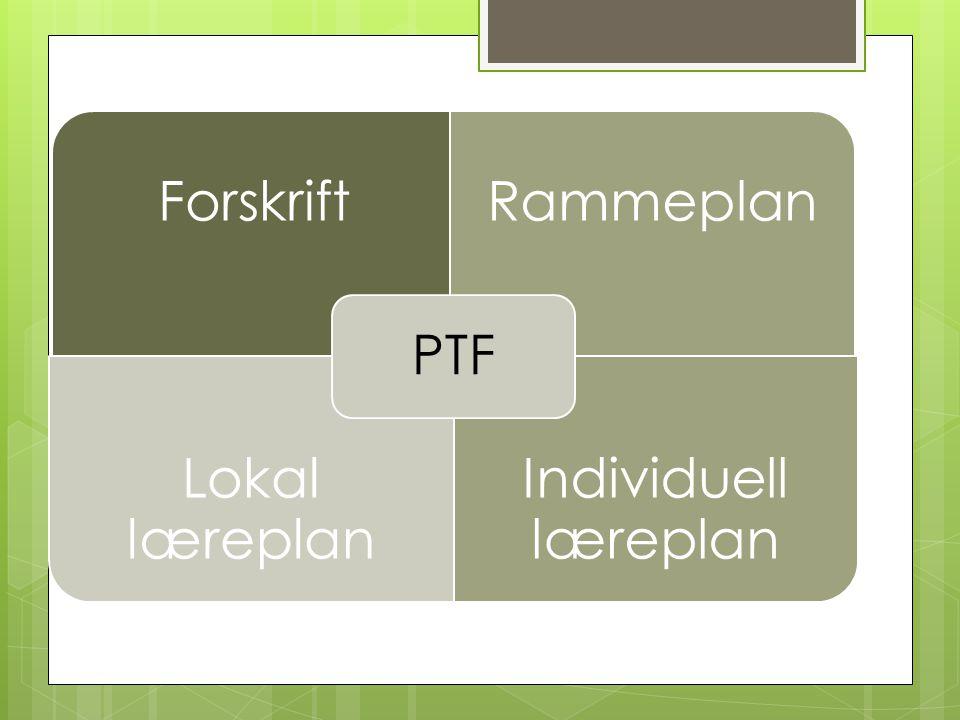 Forskrift- ramme PTF Forskrift Rammeplan Lokal læreplan