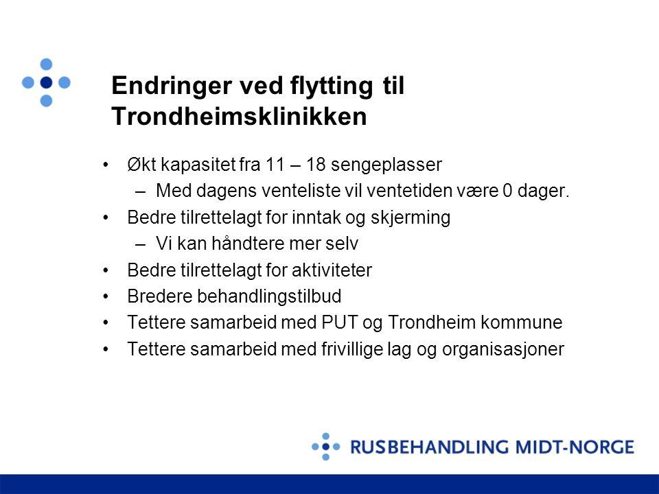 Endringer ved flytting til Trondheimsklinikken