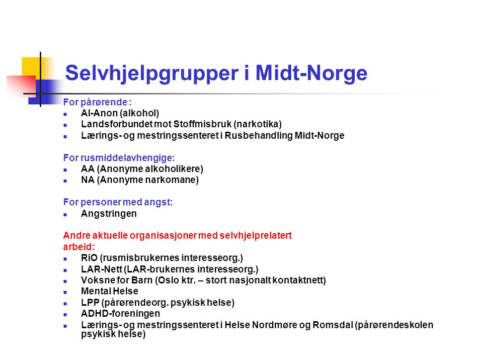 Selvhjelpgrupper i Midt-Norge
