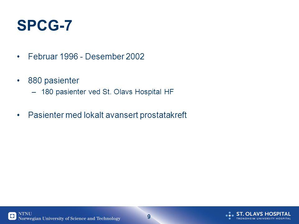 SPCG-7 Februar 1996 - Desember 2002 880 pasienter