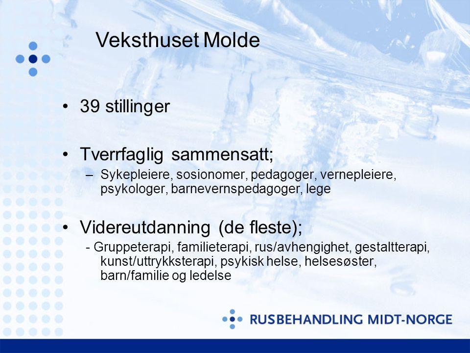 Veksthuset Molde 39 stillinger Tverrfaglig sammensatt;