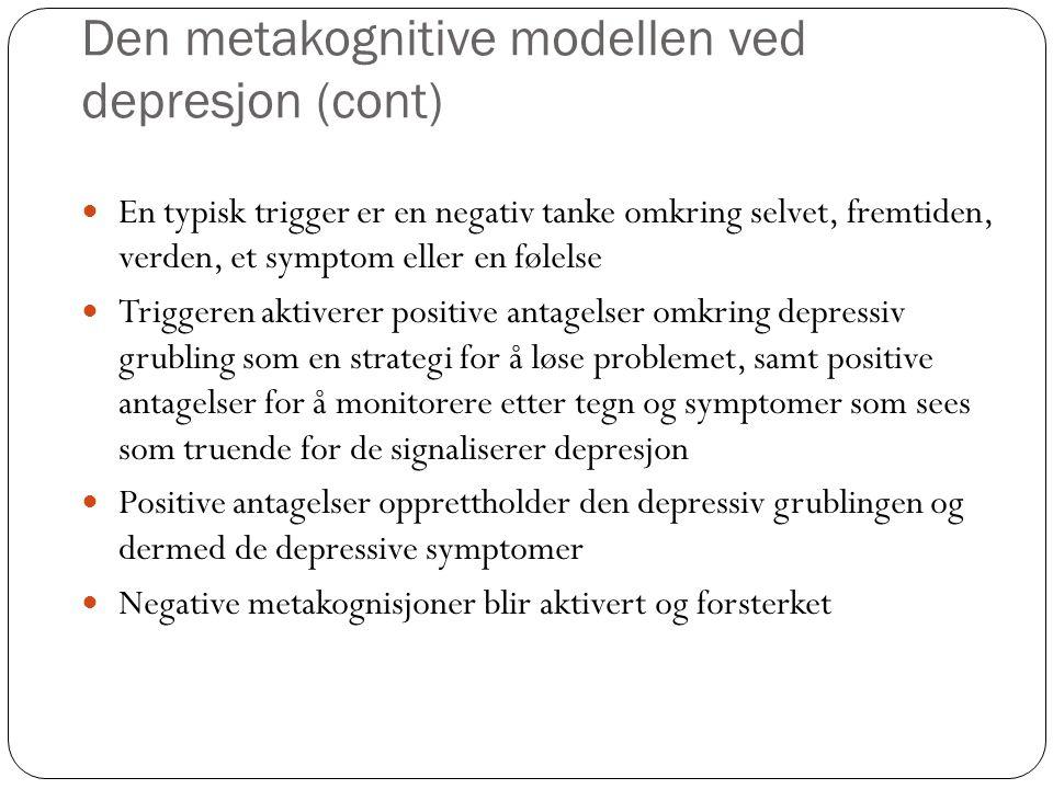 Den metakognitive modellen ved depresjon (cont)
