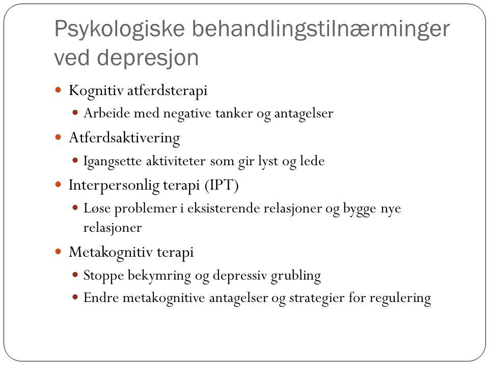 Psykologiske behandlingstilnærminger ved depresjon