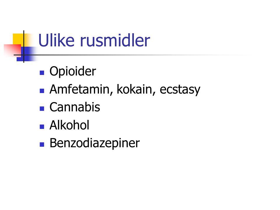 Ulike rusmidler Opioider Amfetamin, kokain, ecstasy Cannabis Alkohol