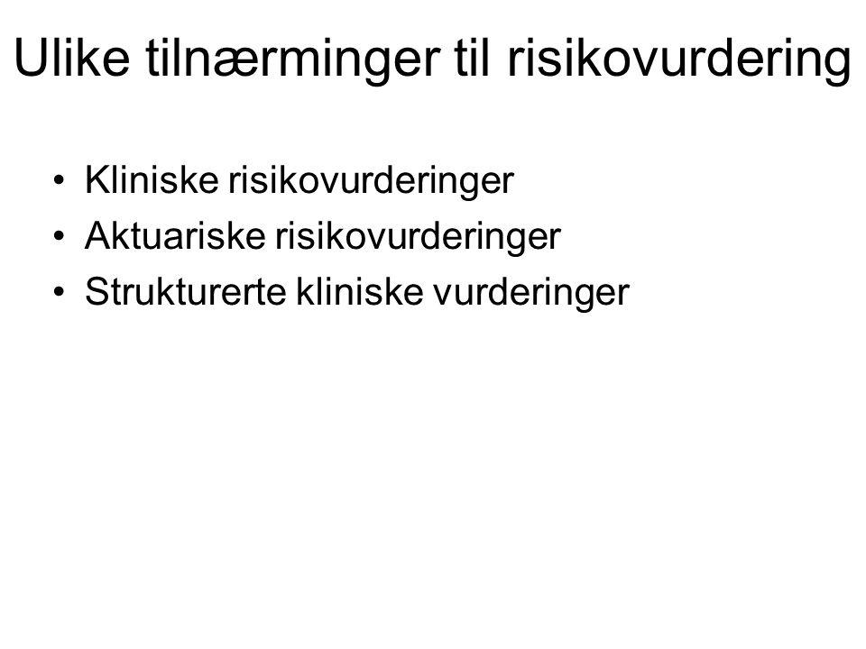 Ulike tilnærminger til risikovurdering