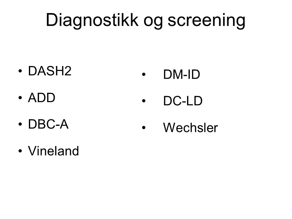 Diagnostikk og screening