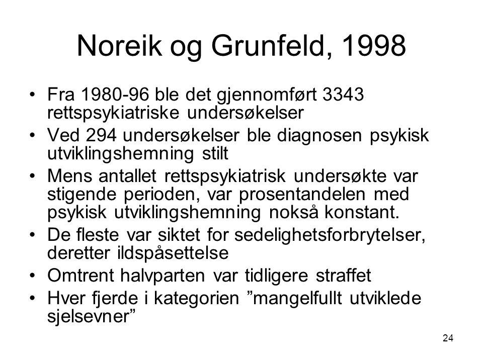 Noreik og Grunfeld, 1998 Fra 1980-96 ble det gjennomført 3343 rettspsykiatriske undersøkelser.
