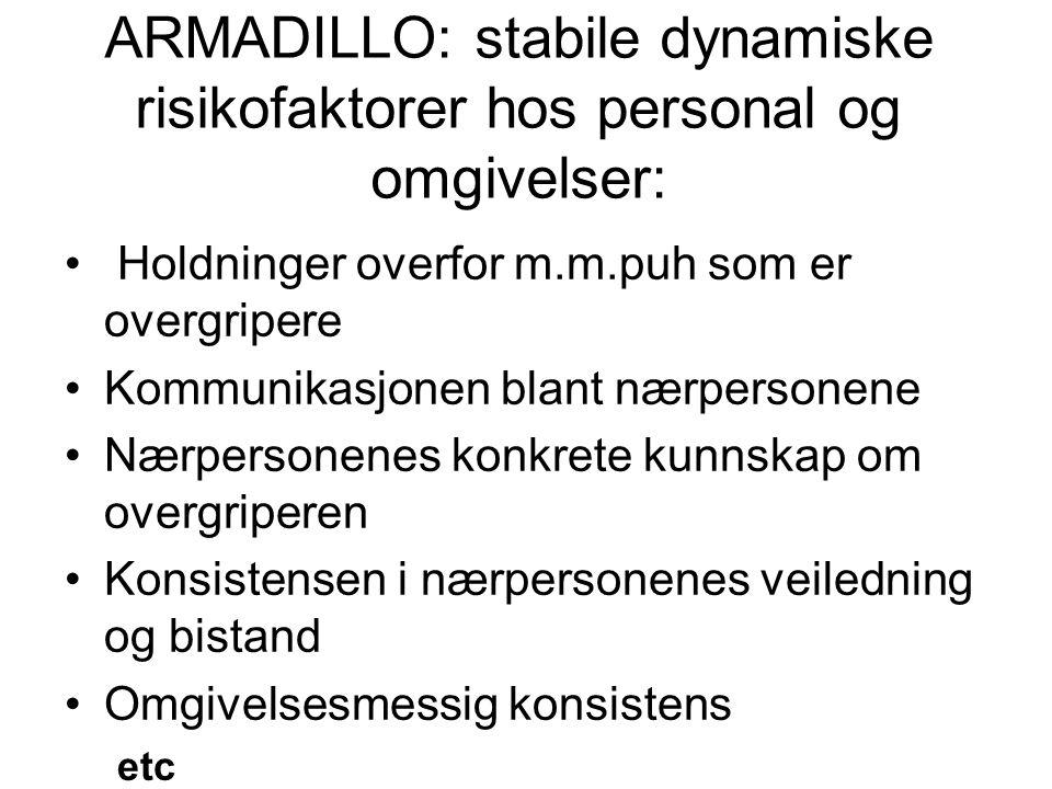 ARMADILLO: stabile dynamiske risikofaktorer hos personal og omgivelser: