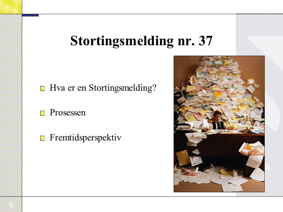 Stortingsmelding nr. 37 Hva er en Stortingsmelding Prosessen