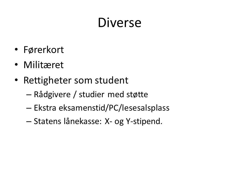 Diverse Førerkort Militæret Rettigheter som student