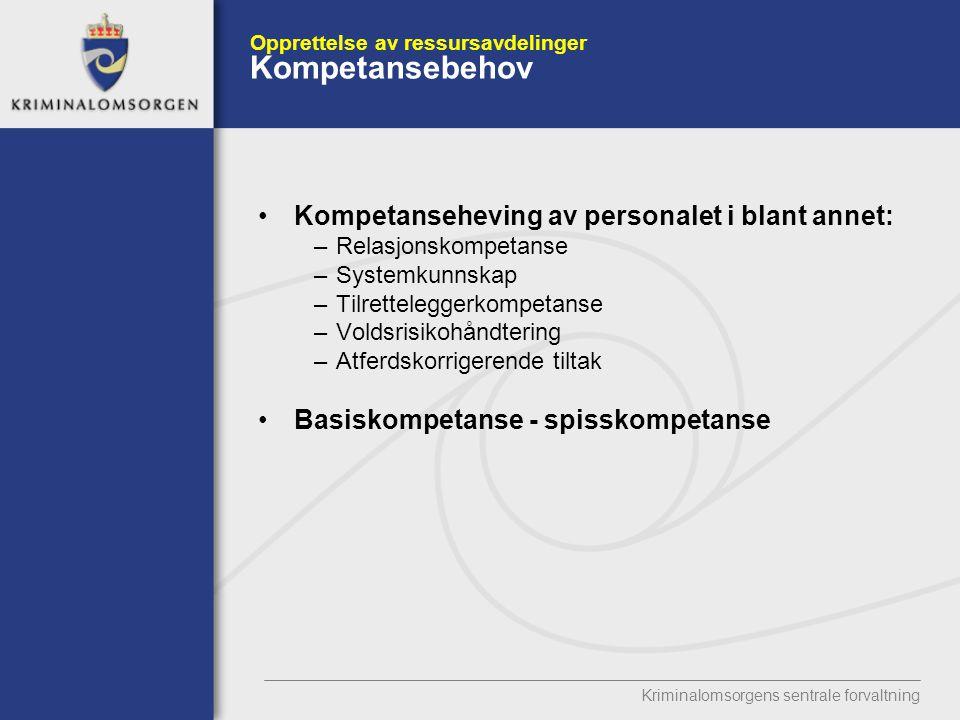 Opprettelse av ressursavdelinger Kompetansebehov