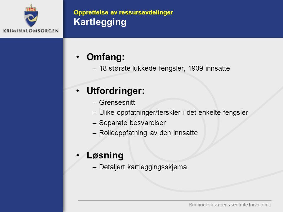 Opprettelse av ressursavdelinger Kartlegging