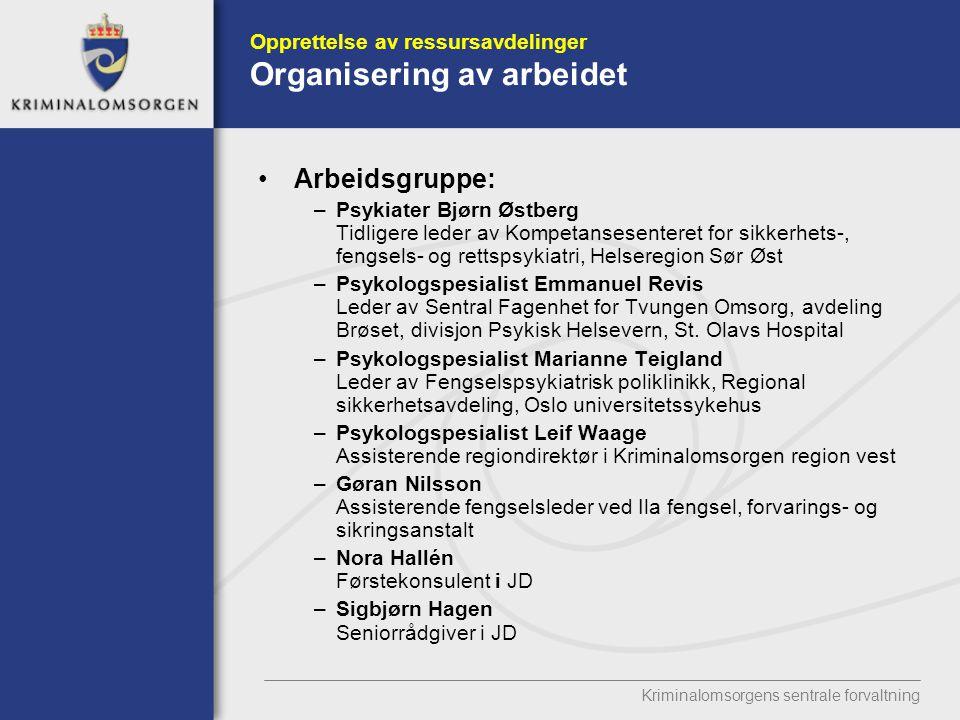 Opprettelse av ressursavdelinger Organisering av arbeidet