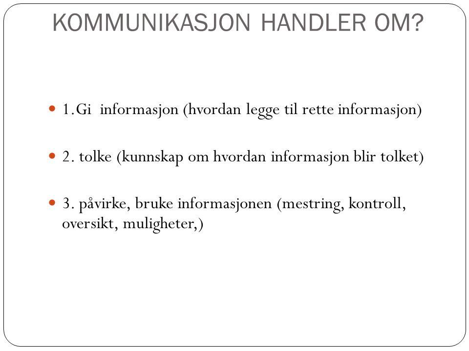 KOMMUNIKASJON HANDLER OM