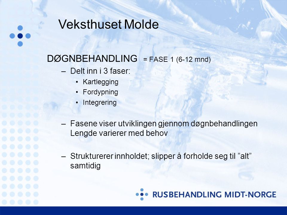 Veksthuset Molde DØGNBEHANDLING = FASE 1 (6-12 mnd)