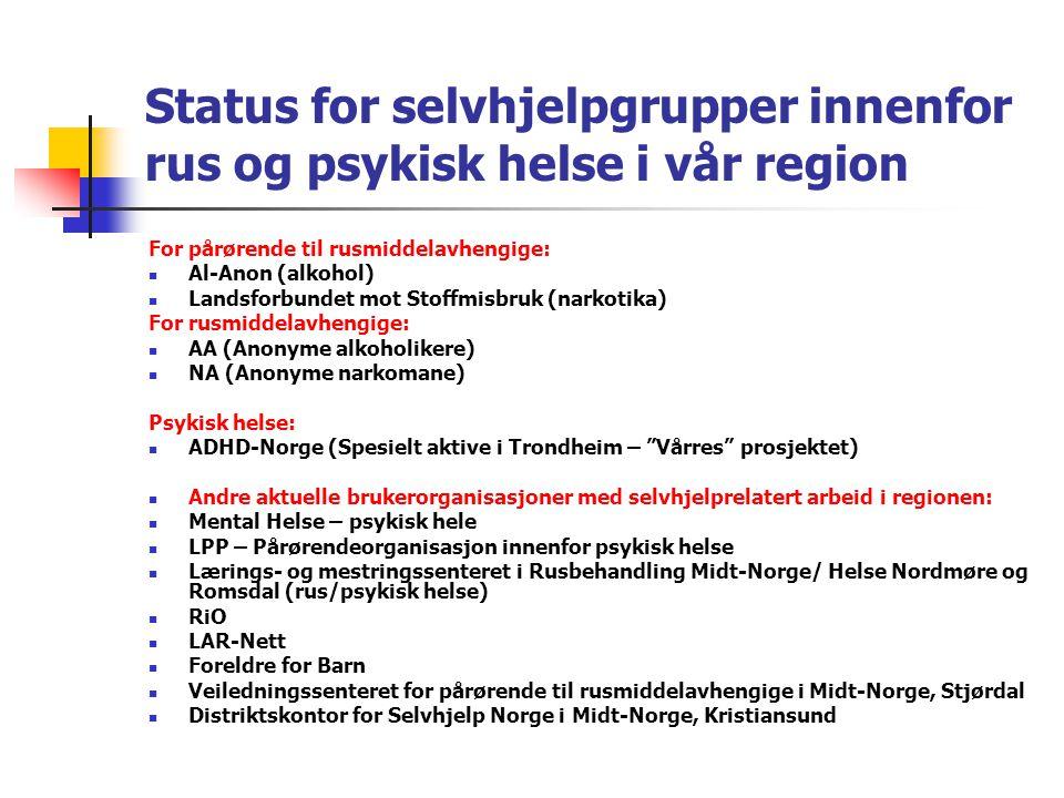 Status for selvhjelpgrupper innenfor rus og psykisk helse i vår region