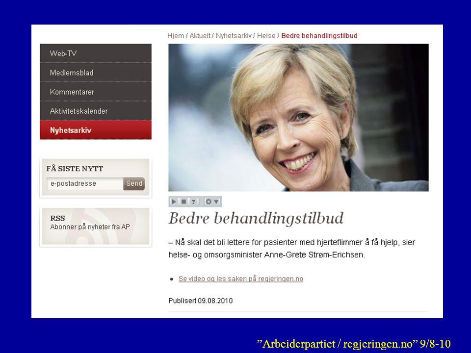 Arbeiderpartiet / regjeringen.no 9/8-10