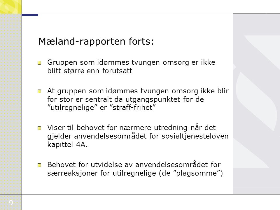 Mæland-rapporten forts: