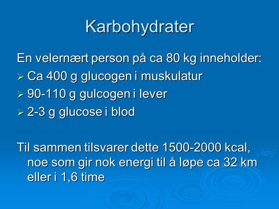 Karbohydrater En velernært person på ca 80 kg inneholder: