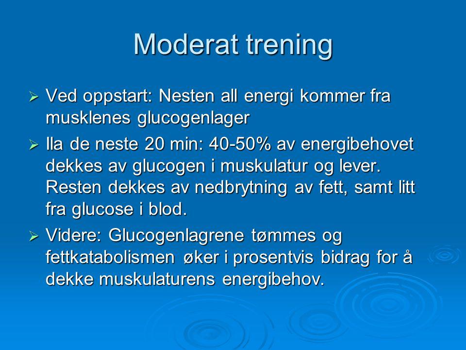 Moderat trening Ved oppstart: Nesten all energi kommer fra musklenes glucogenlager.