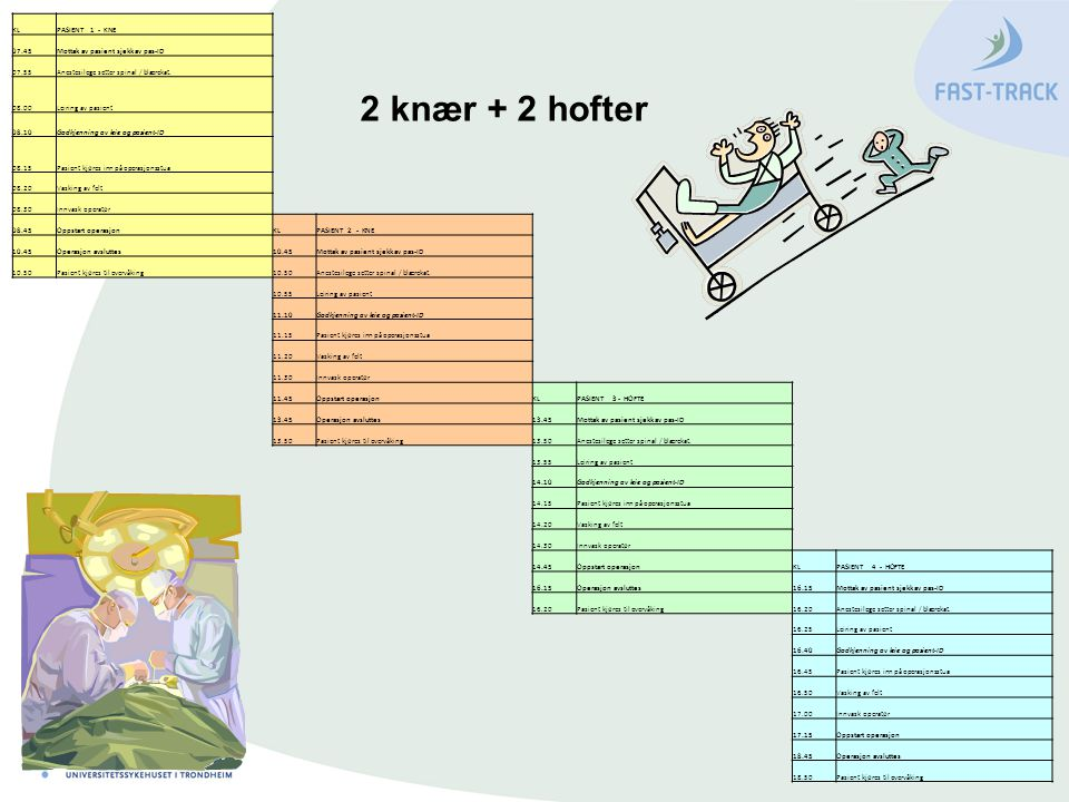 2 knær + 2 hofter KL PASIENT 1 - KNE 07.45