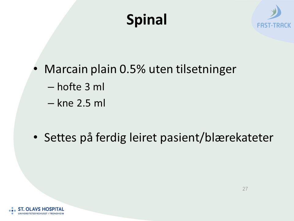 Spinal Marcain plain 0.5% uten tilsetninger