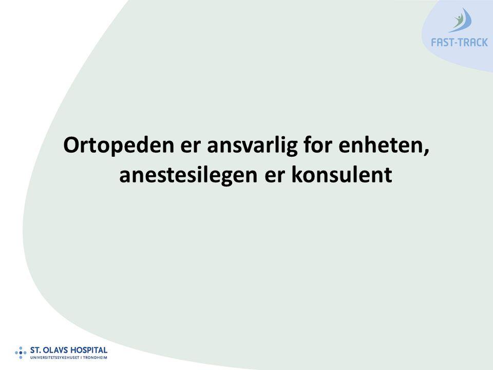 Ortopeden er ansvarlig for enheten, anestesilegen er konsulent