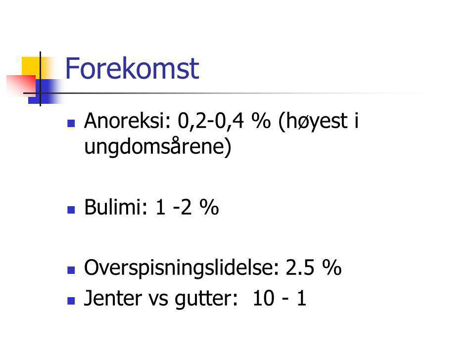Forekomst Anoreksi: 0,2-0,4 % (høyest i ungdomsårene) Bulimi: 1 -2 %