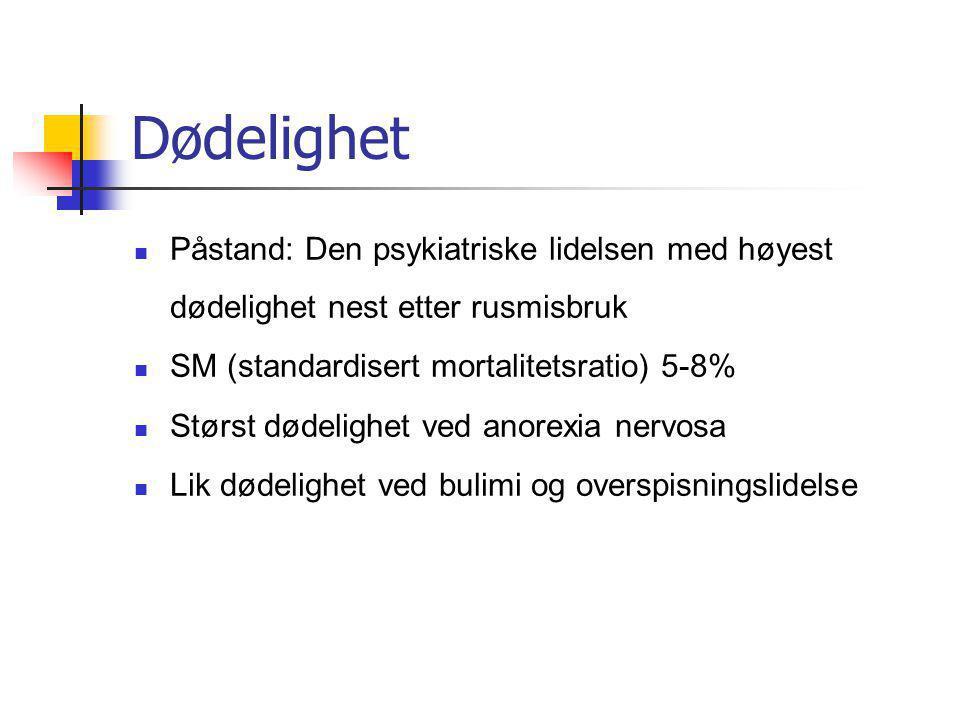 Dødelighet Påstand: Den psykiatriske lidelsen med høyest dødelighet nest etter rusmisbruk. SM (standardisert mortalitetsratio) 5-8%
