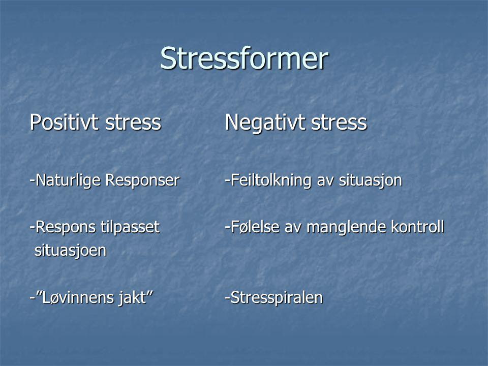 Stressformer Positivt stress Negativt stress