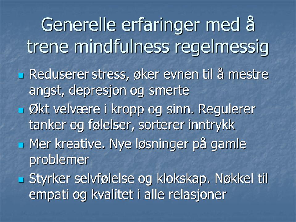 Generelle erfaringer med å trene mindfulness regelmessig