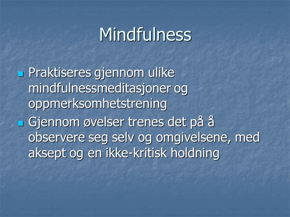 Mindfulness Praktiseres gjennom ulike mindfulnessmeditasjoner og oppmerksomhetstrening.