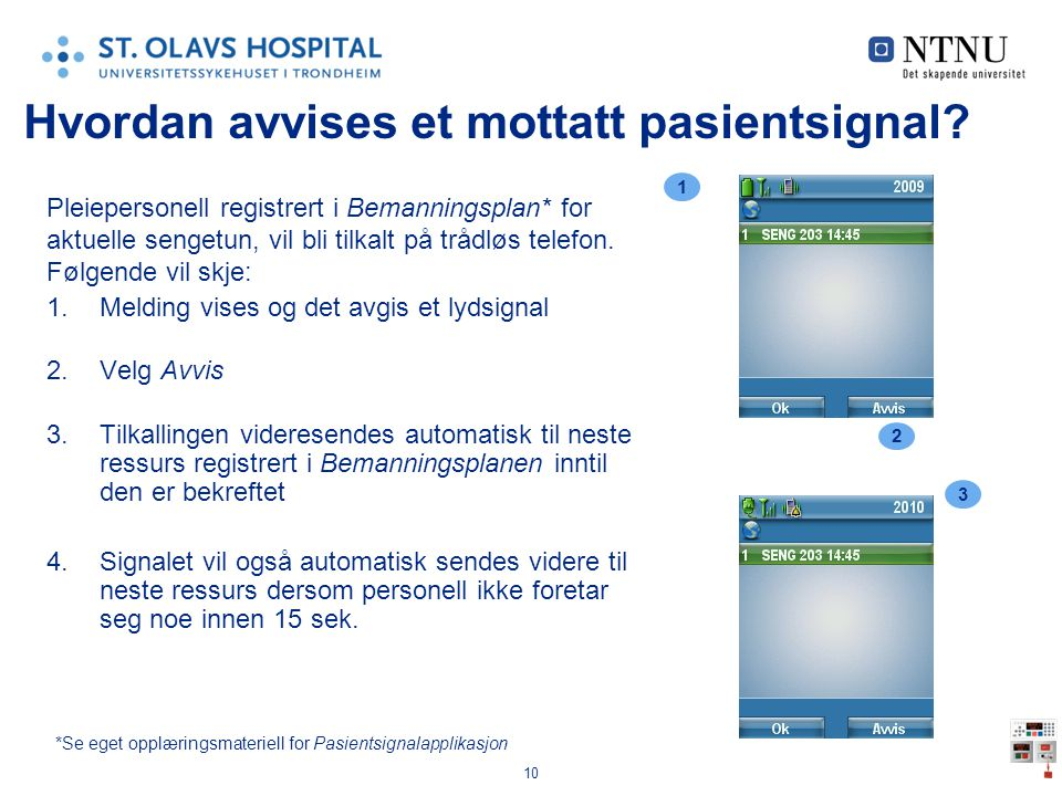 Hvordan avvises et mottatt pasientsignal