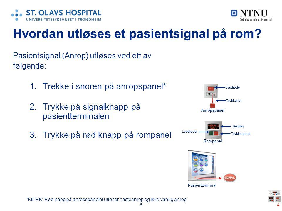 Hvordan utløses et pasientsignal på rom