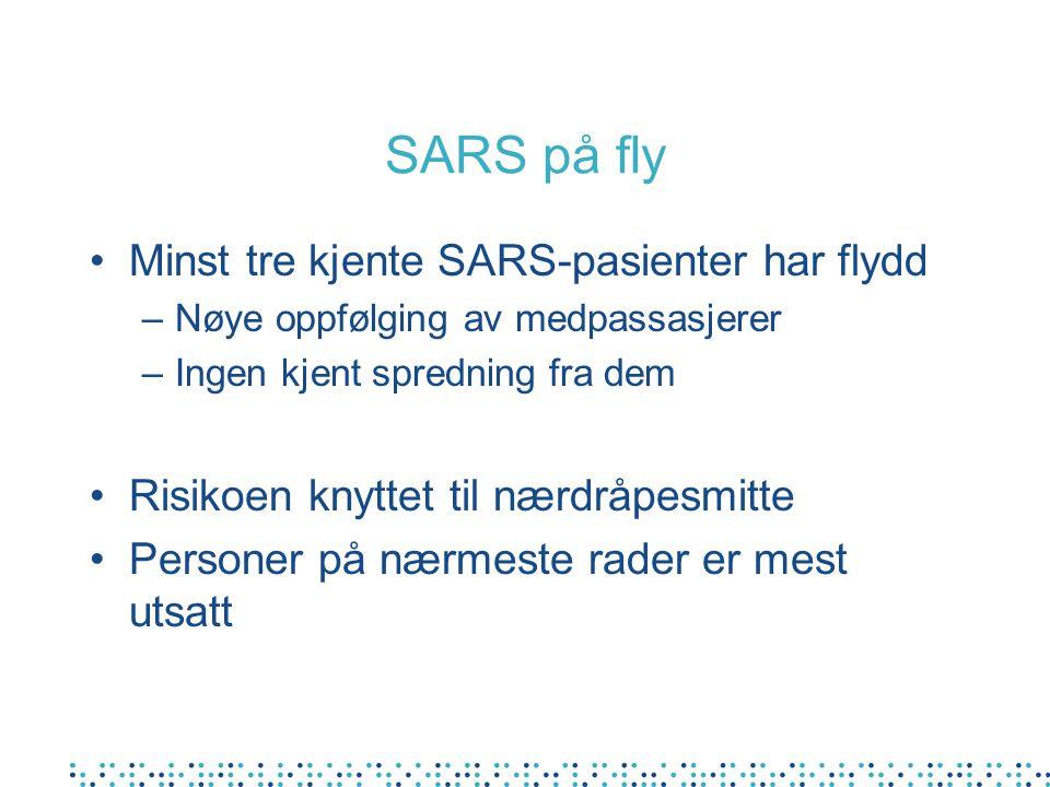 SARS på fly Minst tre kjente SARS-pasienter har flydd