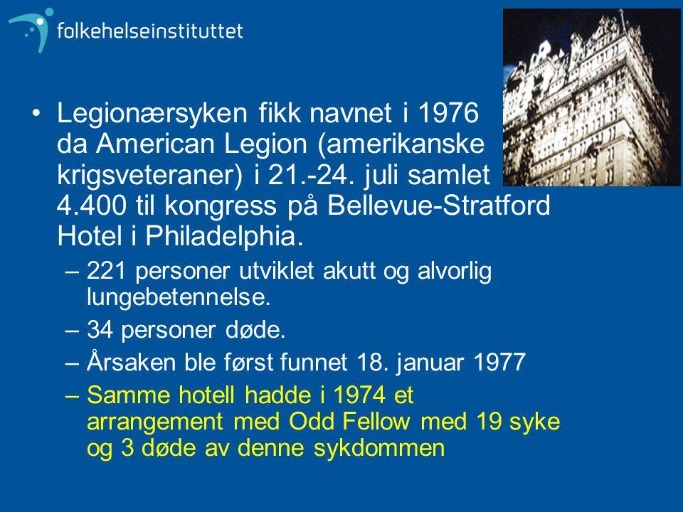 Legionærsyken fikk navnet i 1976 da American Legion (amerikanske krigsveteraner) i 21.-24. juli samlet 4.400 til kongress på Bellevue-Stratford Hotel i Philadelphia.