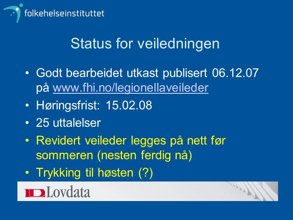 Status for veiledningen