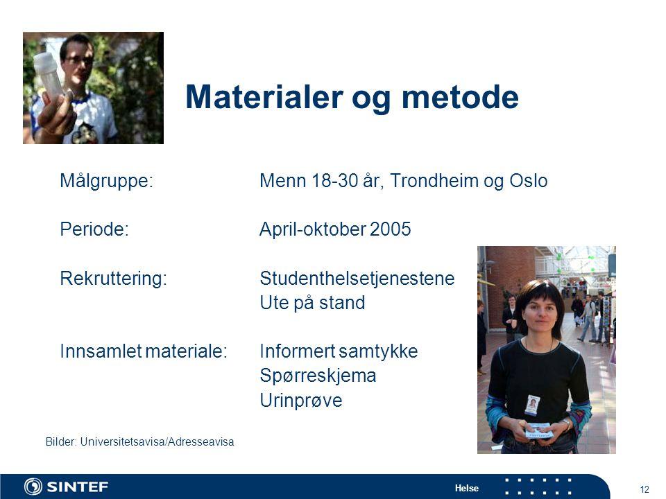 Materialer og metode Målgruppe: Menn 18-30 år, Trondheim og Oslo